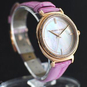 腕時計 ウォッチミハエルレディースカラークリスタルピンクトリムmichael kors mk2663 damenuhr echt leder farbe pink mit kristall besatz