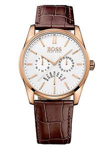 【送料無料】腕時計 ウォッチヒューゴボスメンズローズゴールドケースブラウンレザーウォッチhugo boss 1513125 heritage mens rose gold case and brown leather watch