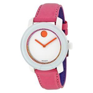 【送料無料】腕時計 ウォッチピンクレザーストラップ womens movado 3600216 bold pink leather strap crystal watch