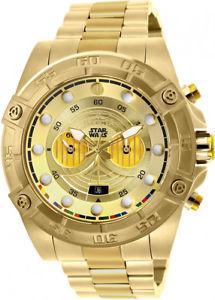 腕時計 ウォッチメンズスターウォーズクロノゴールドトーンステンレススチールウォッチinvicta mens star wars chrono 100m gold tone stainless steel watch 26525
