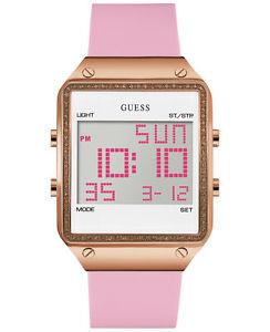 【送料無料】腕時計 ウォッチピンクシリコンストラップローズゴールドクリスタルウォッチ*brand * guess womens pink silicone strap rose gold crystal watch u0700l2