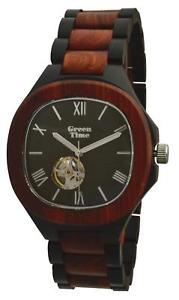 腕時計 ウォッチオロロジオゲントウォッチorologio green time automatico uomo watch wood zw073b legno sandalo 43mm gent