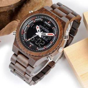 【送料無料】腕時計 ウォッチデュアルデジタルスポーツクオーツdual display wooden quartz watch for men led digital army military sport