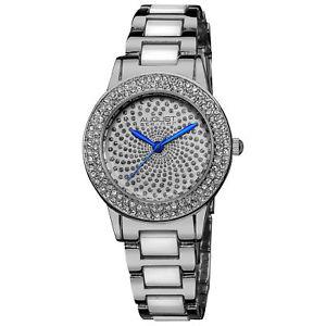 【送料無料】腕時計 ウォッチシュタイナークリスタルホワイトセラミックリンクブレスレットwomens august steiner as8052ss crystal glitz white ceramic link bracelet watch