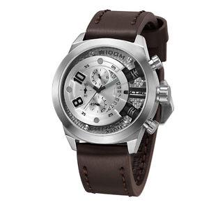 【送料無料】腕時計 ウォッチアルジェントグラフィカルデータextri acciaio inox argento quarzo cronografo data pelle marrone orologio uomo