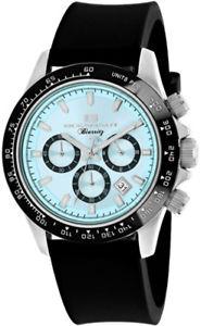 腕時計 ウォッチメンズビアリッツmクロノステンレススチールブラックシリコンウォッチ