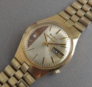 【送料無料】腕時計 ウォッチチューニングフォークヴィンテージウォッチbulova accuquartz tuning fork vintage daydate watch 1973