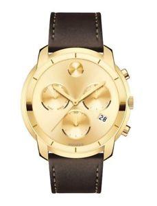 【送料無料】腕時計 ウォッチゴールドトーンブラウンレザーメンズクロノグラフドルウォッチmovado bold gold tone brown leather mens chronograph watch 3600477 650
