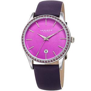 【送料無料】腕時計 ウォッチレザーストラップラウンドケースwomens akribos xxiv ak964pu silver round case date purple leather strap watch
