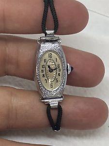 【送料無料】腕時計 ウォッチkホワイトゴールドアールデコwomens 14k white goldfilled art deco bulova wristwatch