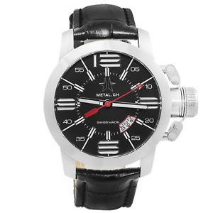 【送料無料】腕時計 ウォッチメンズスイスブラックレザーウォッチ