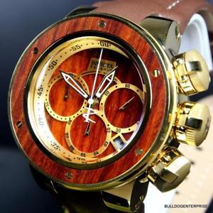 【送料無料】腕時計 ウォッチリザーブシードラゴンブラウンウッドウォッチinvicta reserve subaqua sea dragon brown wood gold plated leather 52mm watch