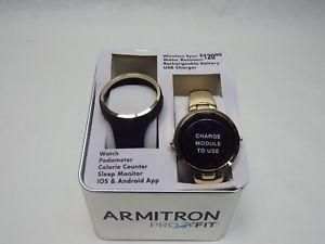 【送料無料】腕時計 ウォッチトロンステンレスゴールドフィットドルカロリー womens armitron pro fit rechargeable watch stainless gold 120 calorie ios