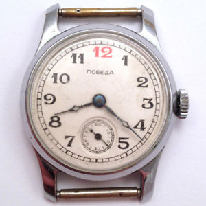 【送料無料】腕時計 ウォッチソ#legendary soviet pobeda *red 12* windup watch chchz 3q1950 vgc *us seller* 638