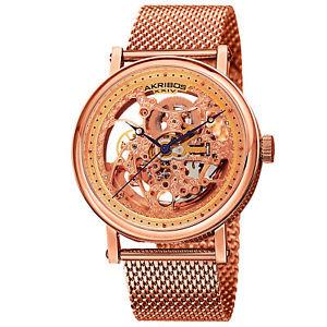【送料無料】腕時計 ウォッチスケルトンローズトーンステンレススチールウォッチmens akribos xxiv ak732rg automatic skeleton rosetone stainless steel watch