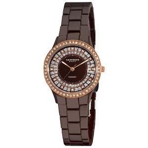 【送料無料】腕時計 ウォッチブラウンセラミッククリスタルベゼルウォッチ womens akribos xxiv ak509br brown ceramic dazzling crystal bezel watch