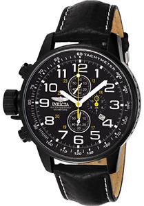 【送料無料】腕時計 ウォッチメンズクロノグラフブラックレザーウォッチ