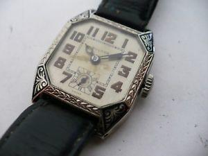 腕時計 ウォッチローンイーグルエナメルカットコーナーrare vtg bulova lone eagleconquerer enamel cut corner wristwatch~1927