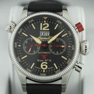 腕時計 ウォッチバイソンlimited edition bison 70 ingersoll automatic watch day week month leather str