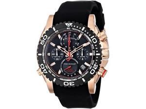 腕時計 ウォッチケースゴールドクロノグラフブラックシリコンストラップローズ
