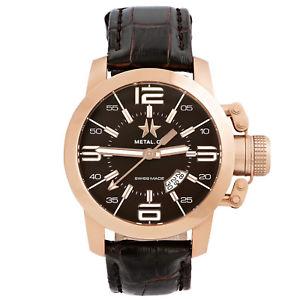 【送料無料】腕時計 ウォッチメンズミリスイスローズゴールドウォッチmetalch chronometrie initial mens 47mm swiss made rose gold watch 134047
