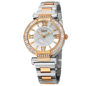 【送料無料】腕時計 ウォッチバールバゲットベゼルスイスクオーツトーンブレスレットwomens burgi bur082tt swiss quartz baguette bezel twotone ss bracelet watch