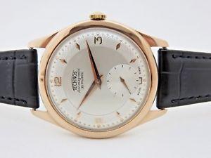 腕時計 ウォッチテクノスピンクマニュアルtechnos in oro rosa 18 kt carica manuale orologio uomo 36 mm anni 60 revisionato