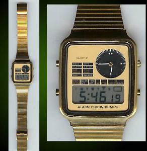 【送料無料】腕時計 ウォッチゴールドストーンデュアルタイムウォッチnos dual time gold tone watch