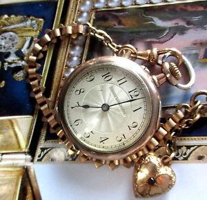 【送料無料】腕時計 ウォッチユニオンチェーンハートルビーケースアイビーレディースポケットウォッチunion horlogere damen taschenuhr mit kette uherz efeu rubin und etui liebe
