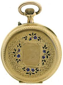 【送料無料】腕時計 ウォッチゴールドエナメルレディースポケットヌーボーカバーkゴールド