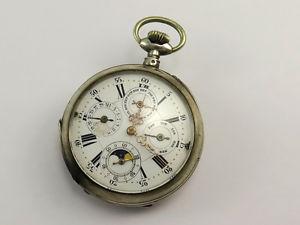 【送料無料】腕時計 ウォッチアンティークソリッドシルバートリプルムーンフェーズポケットウォッチ