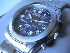 【送料無料】腕時計 ウォッチウェンガースイスアーミーセントスチールクロノグラフwenger swiss army grenadier 22 jewels all ststeel 100m 330 chronograph, bnib