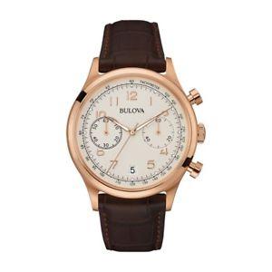 腕時計 ウォッチメンズデザイナーローズゴールドレザーストラップクロノグラフウォッチbulova mens designer 97b148 rose gold and leather strap chronograph watch