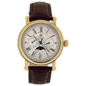 【送料無料】腕時計 ウォッチロイヤルロンドンムーンフェイズブラウンレザーストラップroyal london gents date day sun amp; moon phase brown leather strap watch 4008903