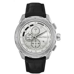 【送料無料】腕時計 ウォッチノーティカペレネロビアンコグラフィカルデータnautica orologio uomo nad18529g nst 101 pelle nero cronografo bianco data uomo