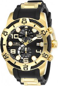 【送料無料】腕時計 ウォッチメンズボルトクロノゴールドトーンステンレスシリコーンウォッチinvicta mens bolt chrono 100m gold tone stainless steel silicone watch 24218