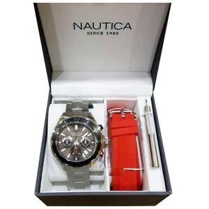 【送料無料】腕時計 ウォッチボックスグラフィカルヌオーヴォセットorologio nautica nad20513g box set polso uomo cronografo acciaio nuovo