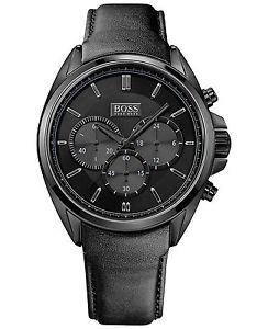 【送料無料】腕時計 ウォッチヒューゴボスメンズブラックレザードライバーウォッチ