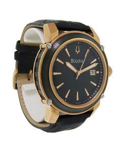 【送料無料】腕時計 ウォッチメンズラウンドアナログブラックローズゴールドトーンレザーウォッチ