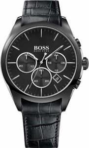 【送料無料】腕時計 ウォッチヒューゴボスメンズクロノグラフブラックレザーストラップウォッチ