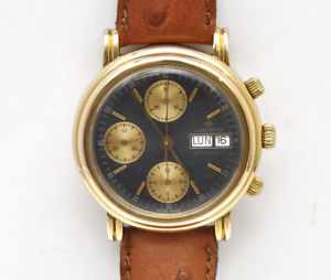 腕時計 ウォッチビンテージゴールドクロノグラフミントlorenz vintage gold chronograph automatic valjoux 7750 mint  perfectly working