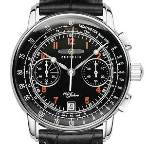 【送料無料】腕時計 ウォッチツェッペリンツェッペリンスチールミリクロノグラフzeppelin 76742 100 jahre zeppelin schwarz stahl 42 mm chronograph datum neu