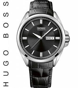 【送料無料】腕時計 ウォッチヒューゴボスステンレススチールケースブラックレザーストラップメンズ