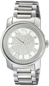 【送料無料】腕時計 ウォッチシルバークリスタルステンレススチールストラップウォッチnwt womens movado 3600254 bold silver crystal pave stainless steel strap watch