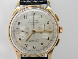 腕時計 ウォッチkヴィーナスビンテージクロノchronographe suisse lylo en or 18k mouvement venus 188 vintage chrono