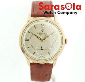 腕時計 ウォッチビンテージマンホールジュネーブゴールドローズvintage gbeguelin geneve de luxe 17 jewels rose gold 38mm leather wrist watch