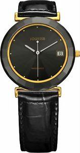 【送料無料】腕時計 ウォッチセラミッククラシックゴールドスチールブラックレザーウォッチ