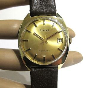 腕時計 ウォッチアルピナktイエローゴールドケースalpina automaticgolduhr, smassives 585 gelbgoldgehuse 14kt, 1976, cal2784