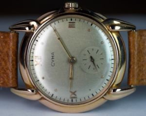 【送料無料】腕時計 ウォッチビンテージソリッドkイエローゴールドマニュアルスイスvintage cyma solid 18k yellow gold 17j 33mm hand wind swiss watch leather a033
