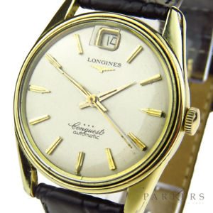 腕時計 ウォッチビンテージゴールドキャップlongines conquest vintage gold cap automatic wristwatch dating circa 1959